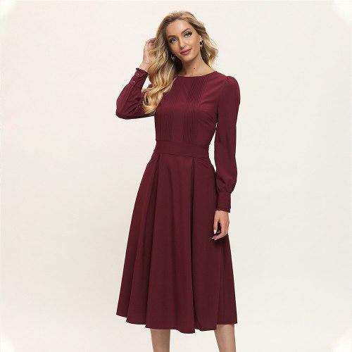 Women Chic Vestidos 2021 Spring and Summer New Women's Burgundy Retro Long Sleeve Elegant Solid Color Mid-Calf Dress Donsignet