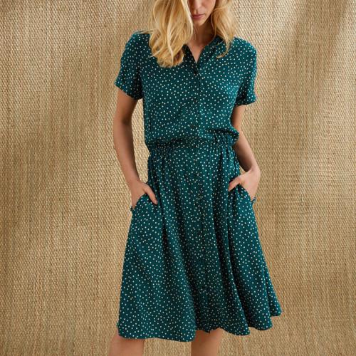 Women Green Single Button A-line Dress Elegant Turn-down Collar Short Sleeve Sundress 2021 Summer Dot Print Midi Dress