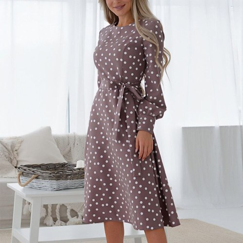 Free Shippin Elegant Dot Print Long Sleeve Spring Women Dresses Winter Casual O Neck Chiffon A Line Dress Vintage Party Vestidos