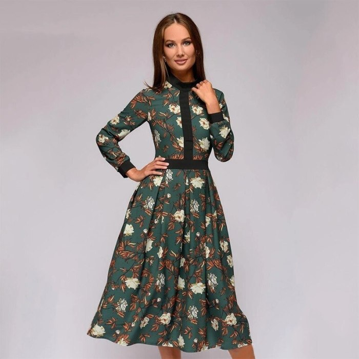 Patchwork Printing Women A-line Dress Vintage Style Vestidos for Female Casual Bottom Long Dress 2019 Summer Autumn