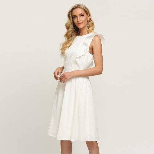 2021 summer new women's dress elegant temperament solid color sleeveless Ruffle Dress