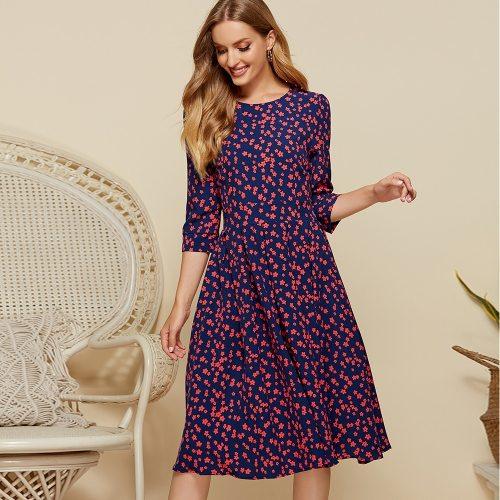 A-line Zippers Floral Print Vintage Dress Elegant O-neck Knee-length Ladies Frocks Causal Three Quarter Sleeve Plus Size Dress
