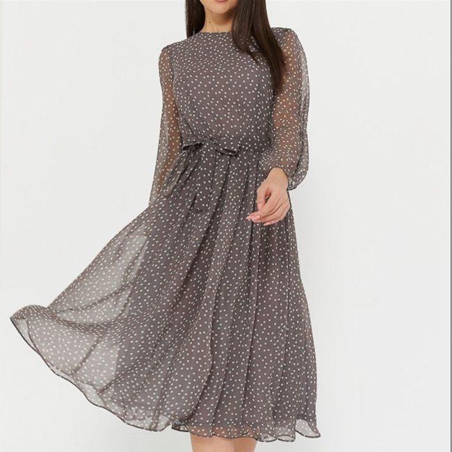 Shyloli Elegant Dot Print Long Sleeve Women Dresses 2020 New Boho Casual O-neck Chiffon A-line Dress Vintage Party Vestidos