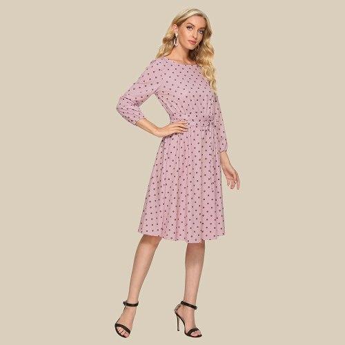 A-line Polka Dot Pink Vintage Dress Elegant O-neck Mid-calf Ladies Frocks for Women Casual Wrist Sleeve Drawstring Bandage Dress