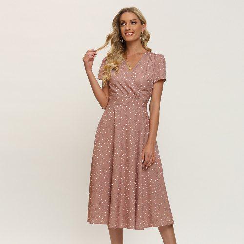 Modern V-neck Polka Dot Dress Elegant Empire Ladies Frocks for Women Casual Full Sleeve Plus Size Dress Summer Mid-calf Vestidos