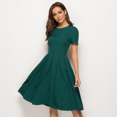 Modern Folds Vestidos Feminino Empire Green Dress Vintage Short Sleeve Ladies Forcks for Women Casual Mid-calf Plus Size Dresses