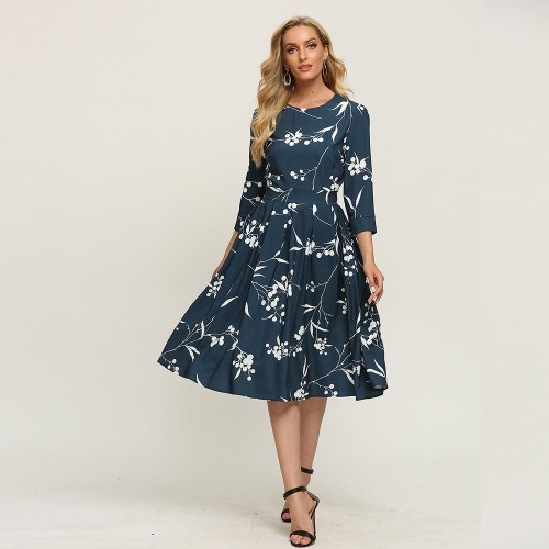 Modern Empire Floral Dress Vintage Three Quarter Sleeve Ladies Frocks for Women Casual Folds Mid-calf Plus Size Ruched Dress