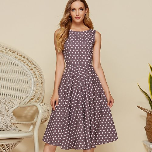 Vogue A-line Polka Dot Vintage Dress Elegant O-neck Empire Ladies Frocks for Women Casual Sleeveless Knee-length Plus Size Dress