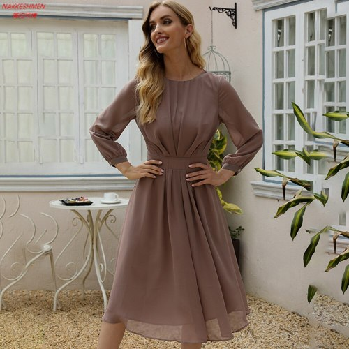 2021 Spring New Women's Dress European and American Pure Color Pleated Slim Mid Length Dress
