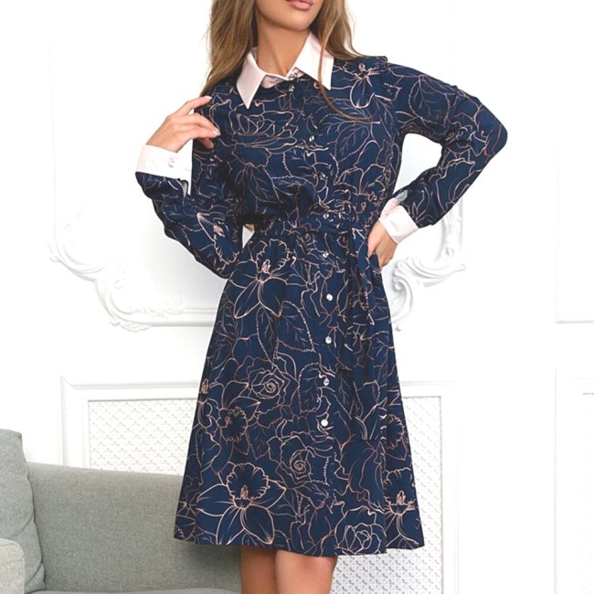 A-line Single Breasted Floral Dress Elegant Empire Turn-down Collar Ladies Frocks Casual Knee-length Full Sleeve Vintage Dress