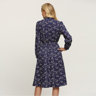 Spring 2021 Bow Neck Vestidos Floral Long Sleeve Dress Vintage Empire Ladies Frocks for Women Casual Mid-calf Plus Size Dresses
