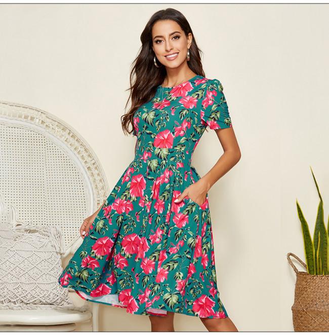 Women Flower Printed Casual Dress 2021 Summer Short Sleeve A-line Sundress Vintage Women Slim Party Vestidos De