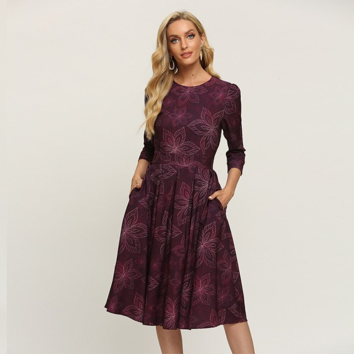 Modern Empire Pockets Floral Dress Vintage Three Quarter Sleeve Ladies Frocks for Women Casual Mid-calf Plus Size Ruched Dress