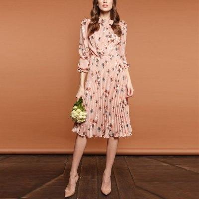 Women Party Pleated Dress Autumn Spring Elegant Ladies Floral Print Dress Fashion Long Sleeve V Neck Midi Dresses Vestidos Belt