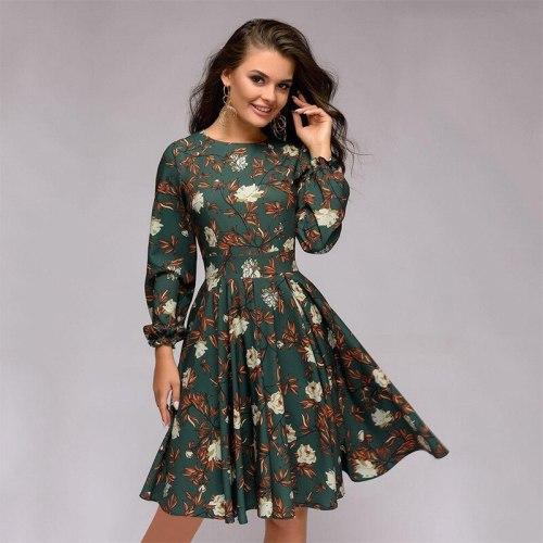Floral O-neck Pleated Dress Elegant Zipper Knee-length Ladies Frocks for Women Casual Empire Full Garment Sleeve Vintage Dress