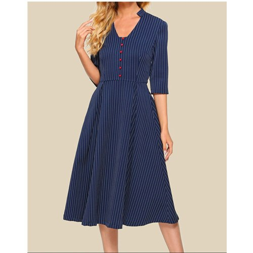 2021 spring and summer new style sexy V-neck stitching striped five-point sleeve pocket elegant women's dress