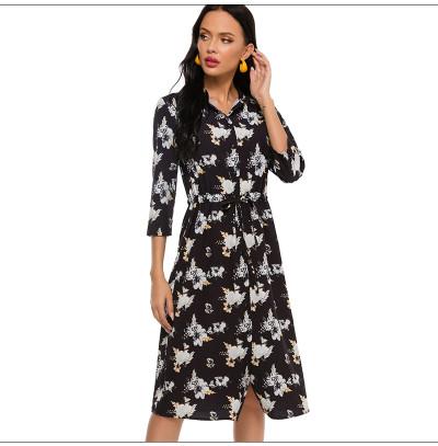 Women Printing Shirt Style Midi Dress Summer Fashion 3/4 Sleeve Stand Casual Sundress Elegant Single Button Clothes