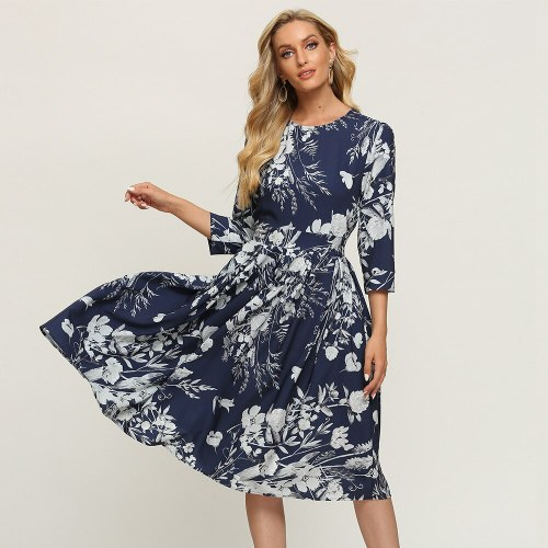 Modern Three Quarter Sleeve Floral Dress Vintage Empire Mid-calf Ladies Frocks for Women Casual Pockets Plus Size Ruched Dress