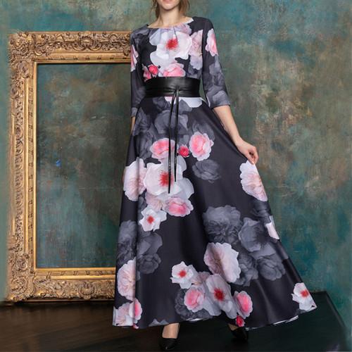Vintage Floral Print Long Sundress 2021 Summer New O-neck Elegant Retro Boho Long Dress Women Party Vestidos