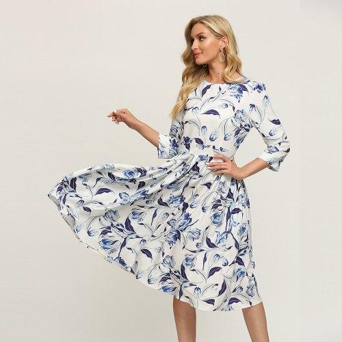 Modern Empire Floral Print Vintage Dress Elegant Three Quarter Sleeve Ladies Frocks for Women Casual Mid-calf Plus Size Dress