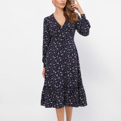 Women Rrteo Floral Print Mid Dress Elegant Women Long Sleeve A Line V Neck Party Dress Work Wear Office Summer Dress