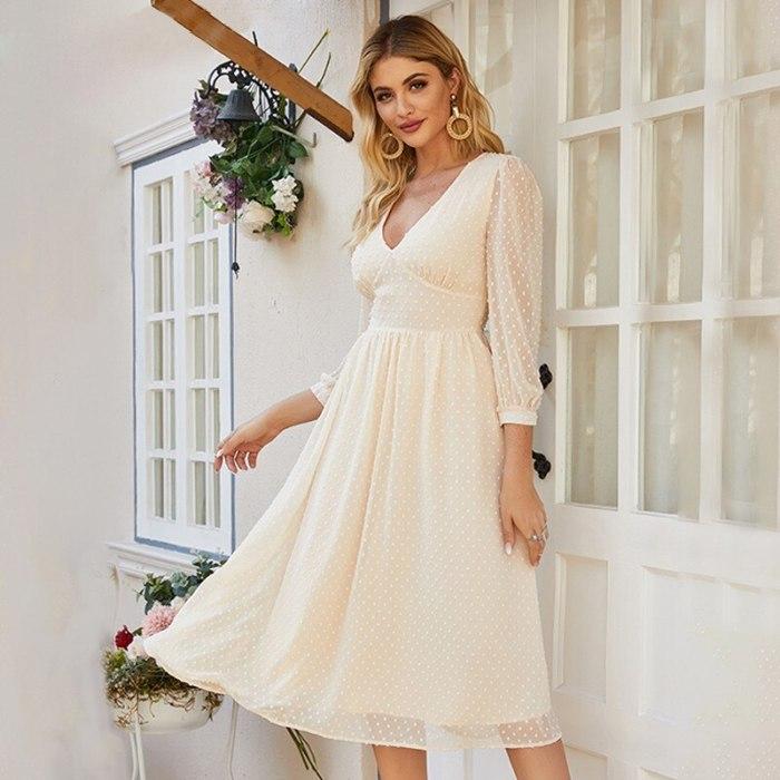 Elegant Women's V-neck Chiffon Mid-length Dress Slimming Party A-line Dress Floral Long-sleeved Bohemian Style Vestidos De Mujer