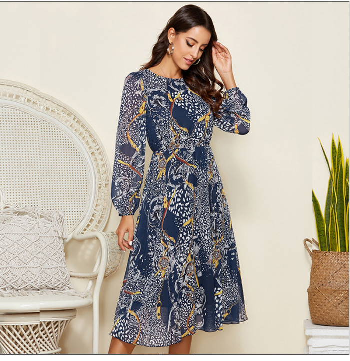 Leopard Print O Neck Chiffon Dress For Women 2021 Spring Long Sleeve Sexy Party Dress Clothes Summer Casual Beach Dress