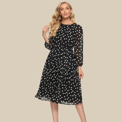 Modern Polka Dot Long Sleeve Dress Vintage Folds Vestido Feminino Empire Ladies Frocks for Women Casual Mid-calf Bandage Dresses