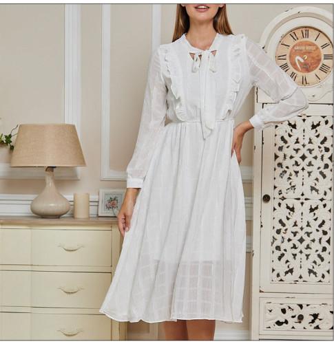 Women Ruffles Plaid Chiffon Summer Dress 2021 Elegant Bow Tie Neck Long Sleeve Party Vestidos Casual A-line Sundress