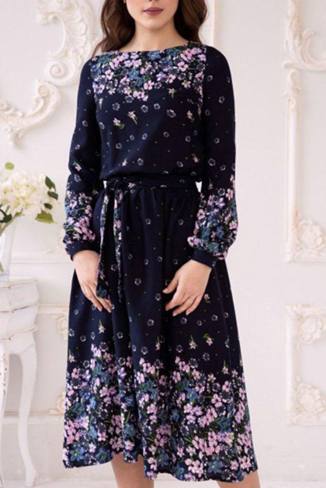 Fashion Women Printing Navy Casual Dress Elegant Long Sleeve Retro A-Line Vestidos Femmale Summer Midi Dress