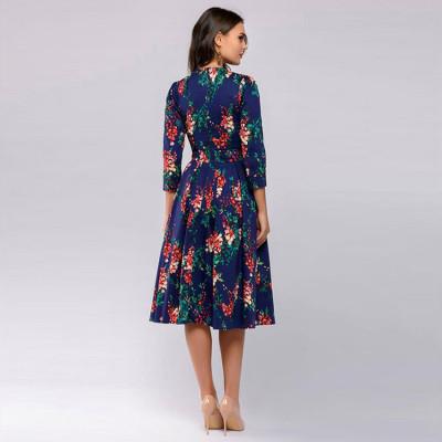 Vintage pleated tunic print dress women Elegant ladies A line dresses Long sleeve female autumn mixi party dress vestidos 2021