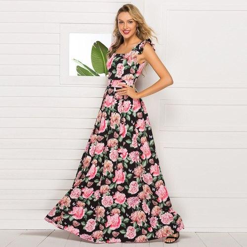 2021 New Retro Floral Print A Line Midi Summer Dress Women No Belt O-Neck Sleeveless Vintage Party Vestidos Spring Casual Dress