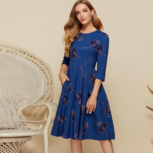 2021 New Summer Women Bohemian Floral Print Dress Fashion O Neck Short Sleeve Beach A Line Dresses Elegant Party Vestidos