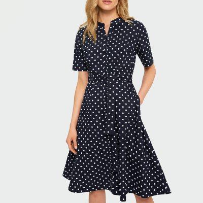 Summer 2021 Polka Dot Shirt Dress Vintage Empire Button Ladies Frocks for Women Casual Short Sleeve Plus Size Bandage Dresses