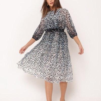 Print O Neck Chiffon Dress For Women 2021 Spring Long Sleeve Sexy Party Dress Clothes Summer Casual Beach Dress B418