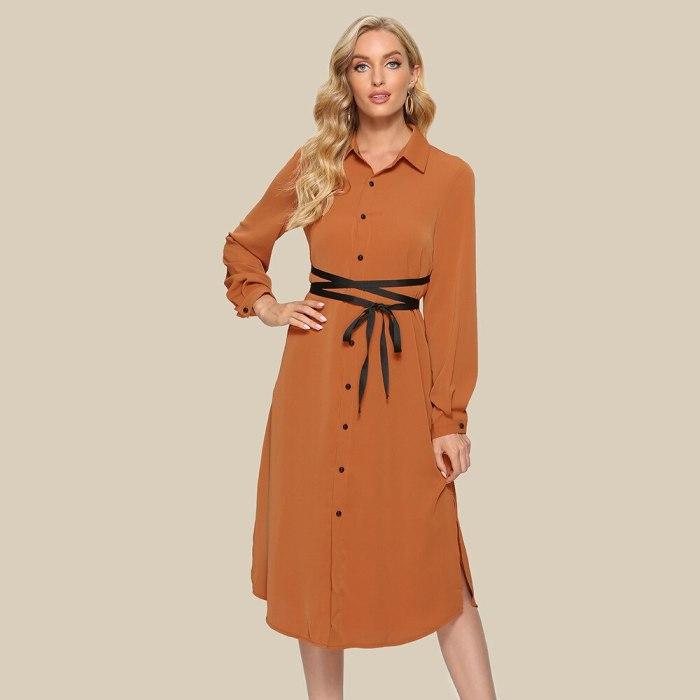 2021 New Women Spring Casual Mid Shirt Dresses Buttons Turn-Down Collar Office Dress Summer Long Sleeve Elegant Vestidos