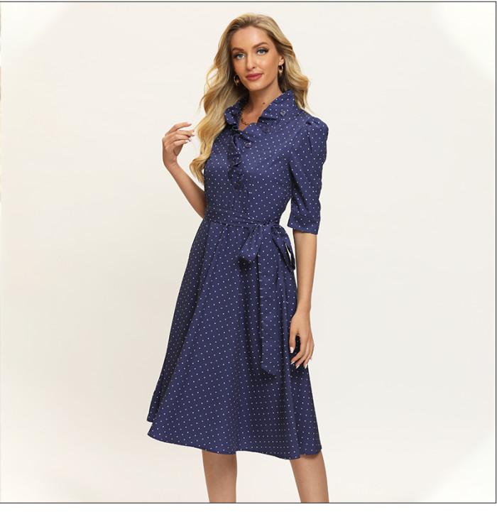 Fashion Women V-Neck Polka Dot Printing Sundress Ruffles 3/4 Sleeve Vintage Patrty Vestidos Summer Casual A Line Dress