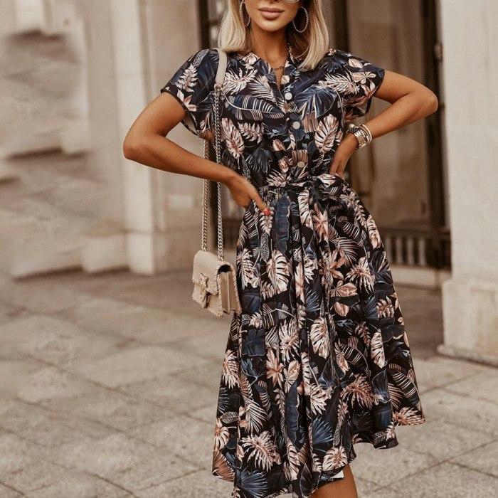 Bohemian Style Women Chiffon Dress Elegant Printing Summer Midi Dress Women Casual Vestidos B406