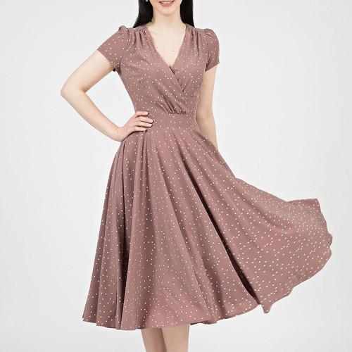New Casual Polka Dot Print Mid Dress Women V Neck Short Sleeve A Line Dresses Summer Vintage Party Dress Robe Femme