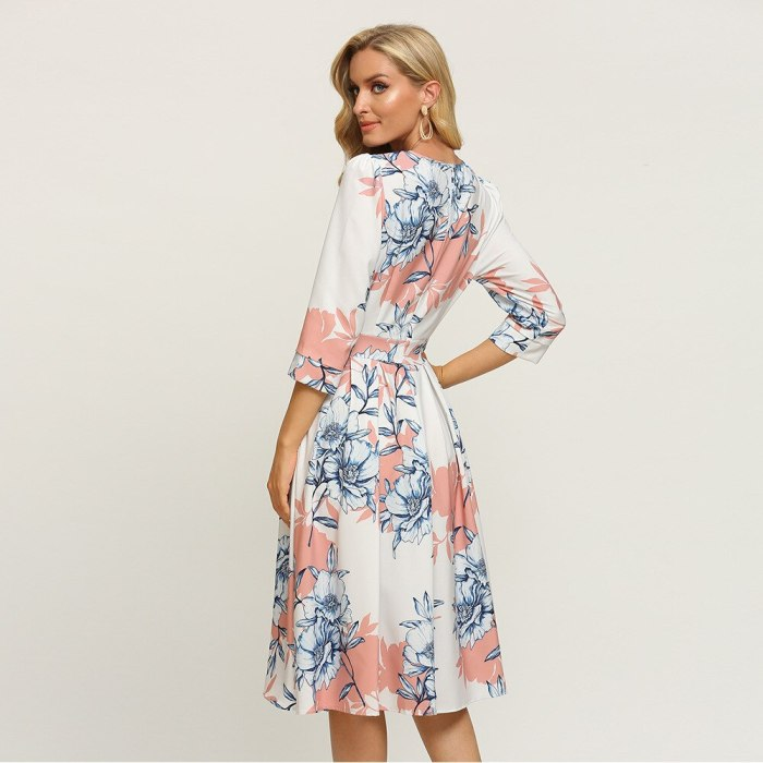 Streetwear Empire Folds Floral Dress Vintage Three Quarter Sleeve Ladies Frocks for Women Casual Mid-calf Plus Size Ruched Dress