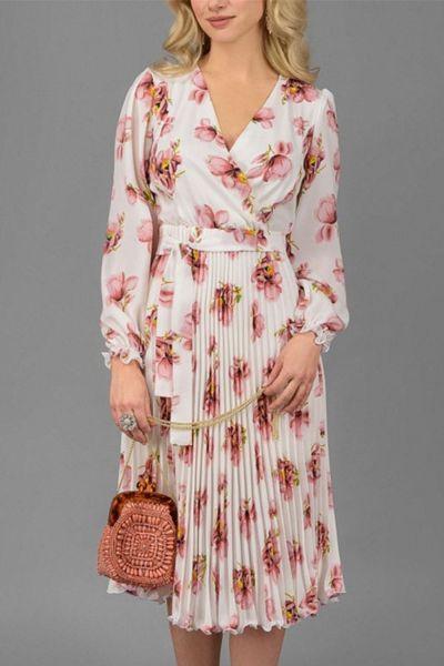 2021 Women Elegant Party Pleated A Line Dress Female Floral Print Dress Long Sleeve V Neck Chiffon Boho Summer Dress