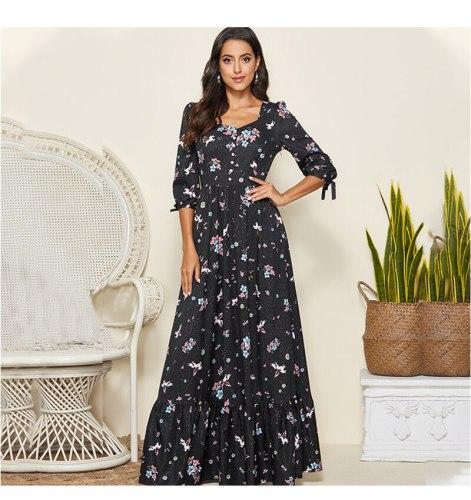 Spring Autumn Fashion Women Maxi long Dress Single Button Vintage Dress Elegant V-neck Printing Party Vestido