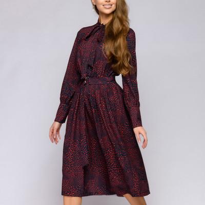 Summer Women Printing Midi Dress Long Sleeve Bow Collar Casual Dress Elegant Classic Party Sundress