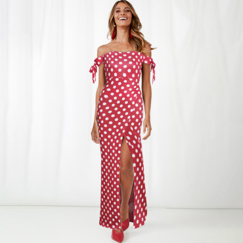 Maxi Sexy Off Shoulder Dots Split Long Dresses Women Summer Elegant Party Night Slash Neck Bow Bodycon Dress Vestidos Plus Size