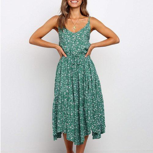 Summer New Floral Suspender Dress A Word Big Swing Mid-Length Dress Women Bohemia Beach Dresses Ladies V Neck Elegant Dress