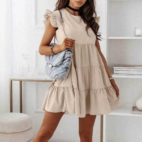 Elegant Butterfly Short Sleeve Summer Beach Dress Women 2021 Summer Round Neck Pleated Party Dress Spring Solid Loose Mini Dress