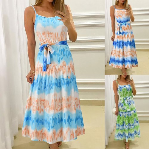 Summer Womens Dress Ladies Sling Sleelveless Tie-dye Print Sexy Banquet long Dress Fashion Ladies Beach long dress new style