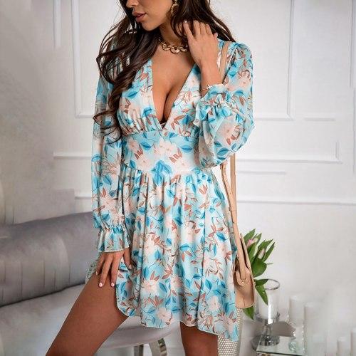Spring Women's Chiffon V Neck Flower Print Dress Casual Long Sleeve Short Dress Female Boho Leisure A Line Party Vestidos 2021