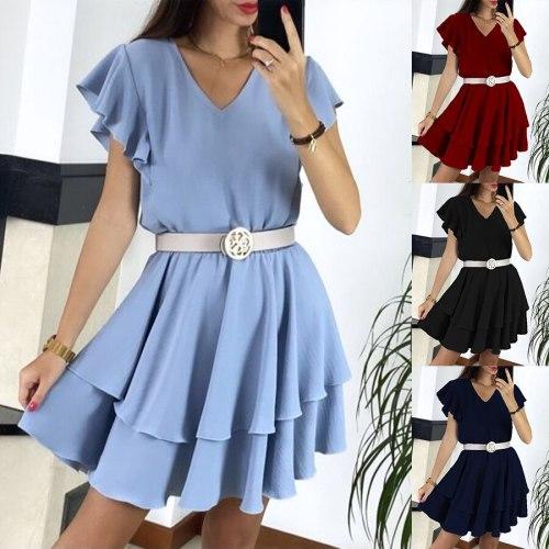 Summer Dress for Women Fashion V-neck Short Sleeve Waist Slim Party Mini Dresses Elegant Ladies Office Women Dress Robe Femme