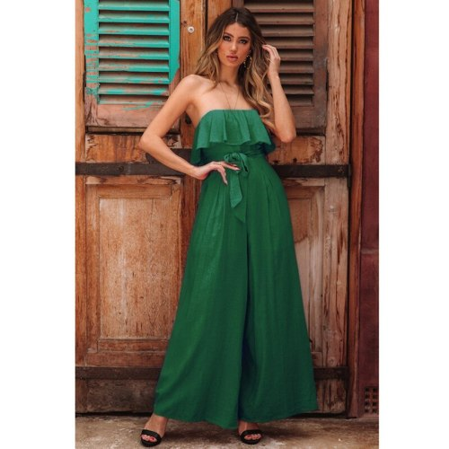 Women Summer Solid Color Loose Fashion New Jumpsuits Female High Street Elegant Playsuits Ladies Brand Casual Rompers ML1031